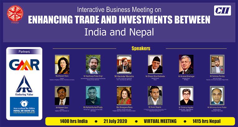 नेपाल-भारत व्यापार तथा लगानी अभिवृद्धिका विषयमा व्यवसायिक वेभिनार सम्पन्न (२०७७/०४/०६)
