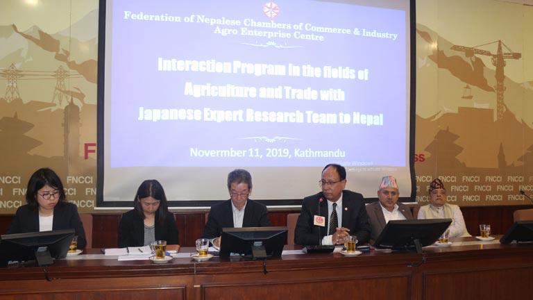 कृषि तथा व्यापार क्षेत्रमा लगानीको सम्भाव्यता अध्ययन गर्न नेपाल आएको जापानी टोली महासंघ सचिवालयमा (२०७६/०७/२५)