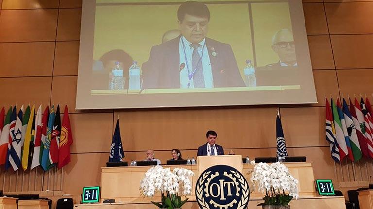 अन्तर्राष्ट्रिय श्रम सम्मेलनको १०७ औं अधिवेशनलाई महासंघको रोजगारदाता परिषदका सभापति ढकालद्वारा जेनेभामा संवोधन (२०७५/०२/१७)